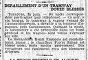 Accident tram -  journal de 1910